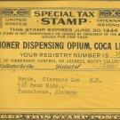 1944 Special Tax Stamp US Internal Revenue- Practitioner dispensing Opium, Coca Leaves, Etc.