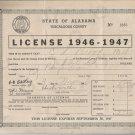 1946-1947   State of Alabama Tuscaloosa County  Business License