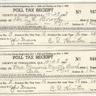 1948  Tuscaloosa, Ala. Poll Tax Receipt  for 1948  husband and wife