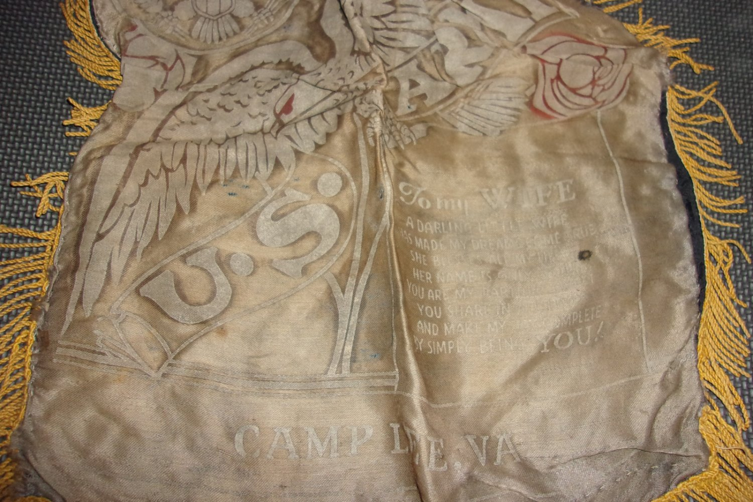 Vintage World War II  - My Wife Pillow Cover- Camp Lee Va
