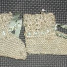 Vintage Blue Crochet by hand Baby Booties- over 60 years old