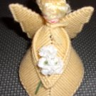 Handmade  plastic canvas angel  yellow with head with  blonde hair