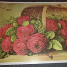 Flowers in basket reproduction print 25x15 3/4 unframed. Suitable to be framed.