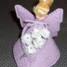 Handmade  plastic canvas angel  lavender with head with  blonde hair
