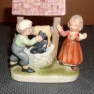 Wales Ding Dong Bell Figurine cat, boy, girl at well- Katayama in mold on back - vintage