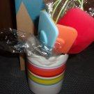 Colorful Silicone Kitchen Utensil Set-  Avon c2009 - crock & utensils