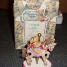 Cherished Teddies Monthly Carousel Birthstone  Figurine - January-  c2000 in box