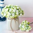 KIMIZA - 12 Head White and Green Silk Rose Flowers Floral Bridal Wedding Bouquet Home Party Decor