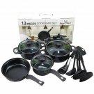 13pcs Non Stick Saucepan Cookware Kitchen Pot Pan w/Glass Lids Shovel Spoon