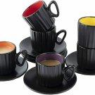 Bruntmor Ceramic Coffee Cups & Saucers Set of 6 Ribbed Design Mugs 4 Oz Black