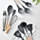 Silicone Cooking Utensils Set Non-stick Cookware The wooden handle Easy to clean