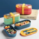 Double Layer Microwavable Bento Boxes With Fork + Spoon + Options