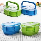 1600ml Silicone Collapsible Lunch Box Double Layer Portable Bento Box Large Gift