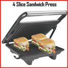 4 Slice Sandwich Press Grill Maker Toaster Non-Stick Stainless Steel Griddle