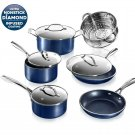 Cookware Pots Pans Ultra Nonstick Coating Granite Stone Cooking Set Blue NEW