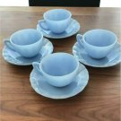 Pyrex Delphite Blue Cup and Saucer Made in CANADA Set of 4 Antique Vintage F/S