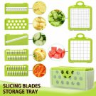 Vegetable Cutter Fruit Slicer 6 Dicing Choppe Blades Stainless Steel Kitchen Kit