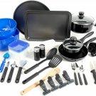 Gibson Home Back to Basics Nonstick Aluminum Cookware Set, 59-Piece, Black
