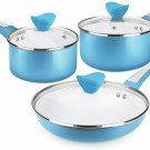 SHINEURI 6 Pieces Nonstick Pots and Pans Set with Glass Lid Ceramic Cookware Set