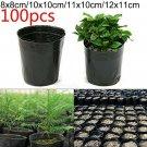 100Pcs Garden Plastic Plants Nursery Pot Flower Plant Container Black