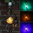 Solar Powered Color-Changing LED Spiral Spinner Chime Lights Yard Garden Decor