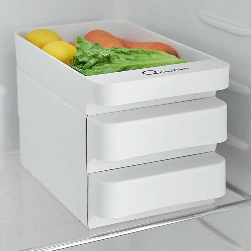 Refrigerator Food Egg Storage Box Rack Fridge Drawer Shelf Kitchen Organizer