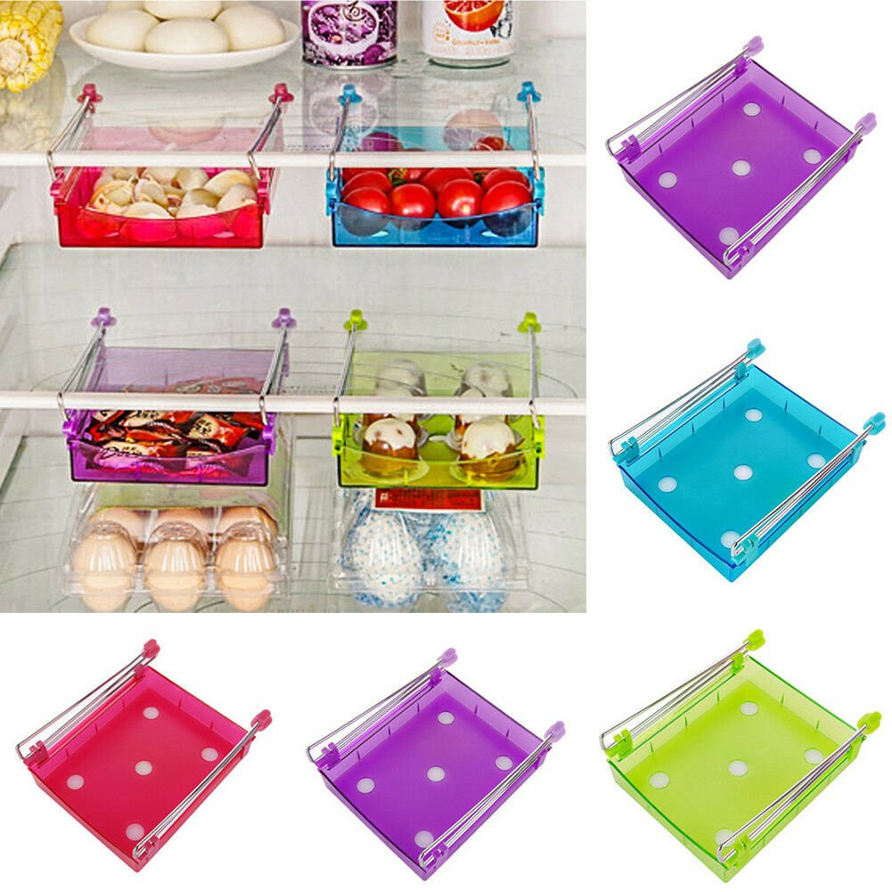 Slide Fridge Freezer Space Saver Organization Storage Rack Shelf Holder Kitchen