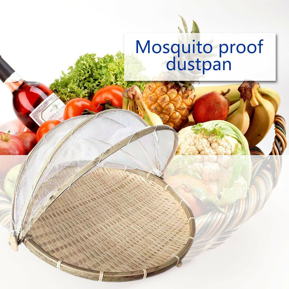 Foldable Bamboo Basket Mosquito Dustpan Food Fruit Storage Tray Dustproof Cover