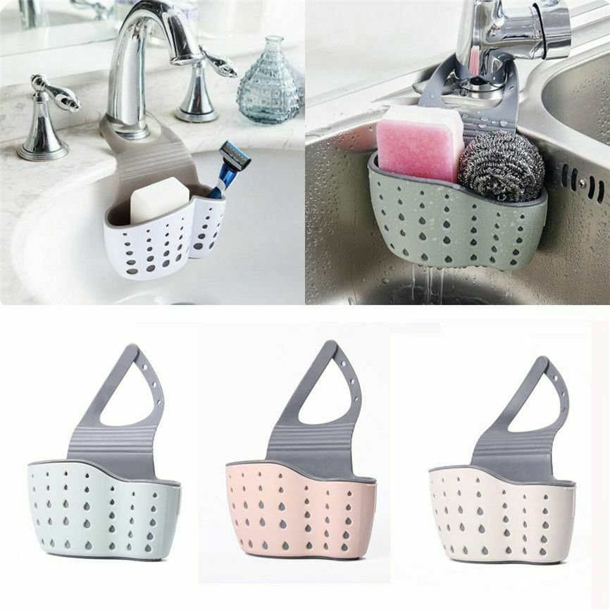 Kitchen Sponge Drain Holder Suction Cup Sink Shelf Soap Sucker Storage Rack Gift