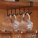 6-Hook Cup Holder Hang Kitchen Cabinet Under Shelf Storage Rack Organizer Top