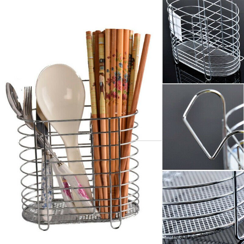 Kitchen Sink Cutlery Drainer Chopsticks Spoon Silverware Tidy Dish Drying Rack