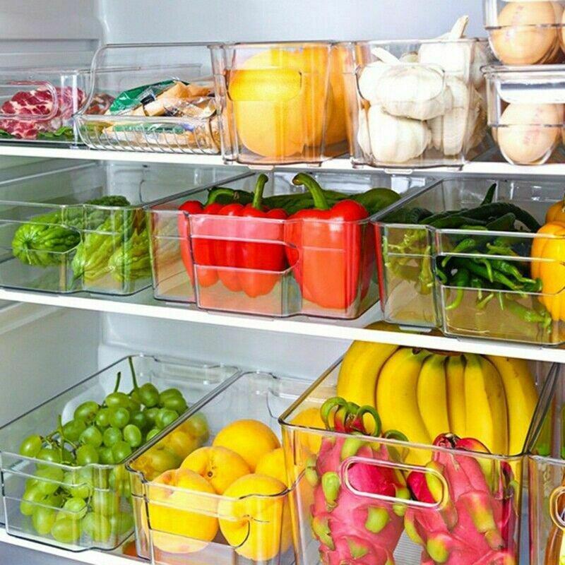 Refrigerator Organizer Bins - Clear Plastic Pantry Food Storage Rack