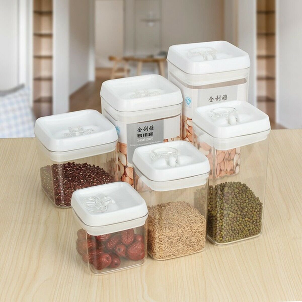 Airtight Food Storage Container With Lid Vacuum Seal Cereal Pasta Rice Food Box