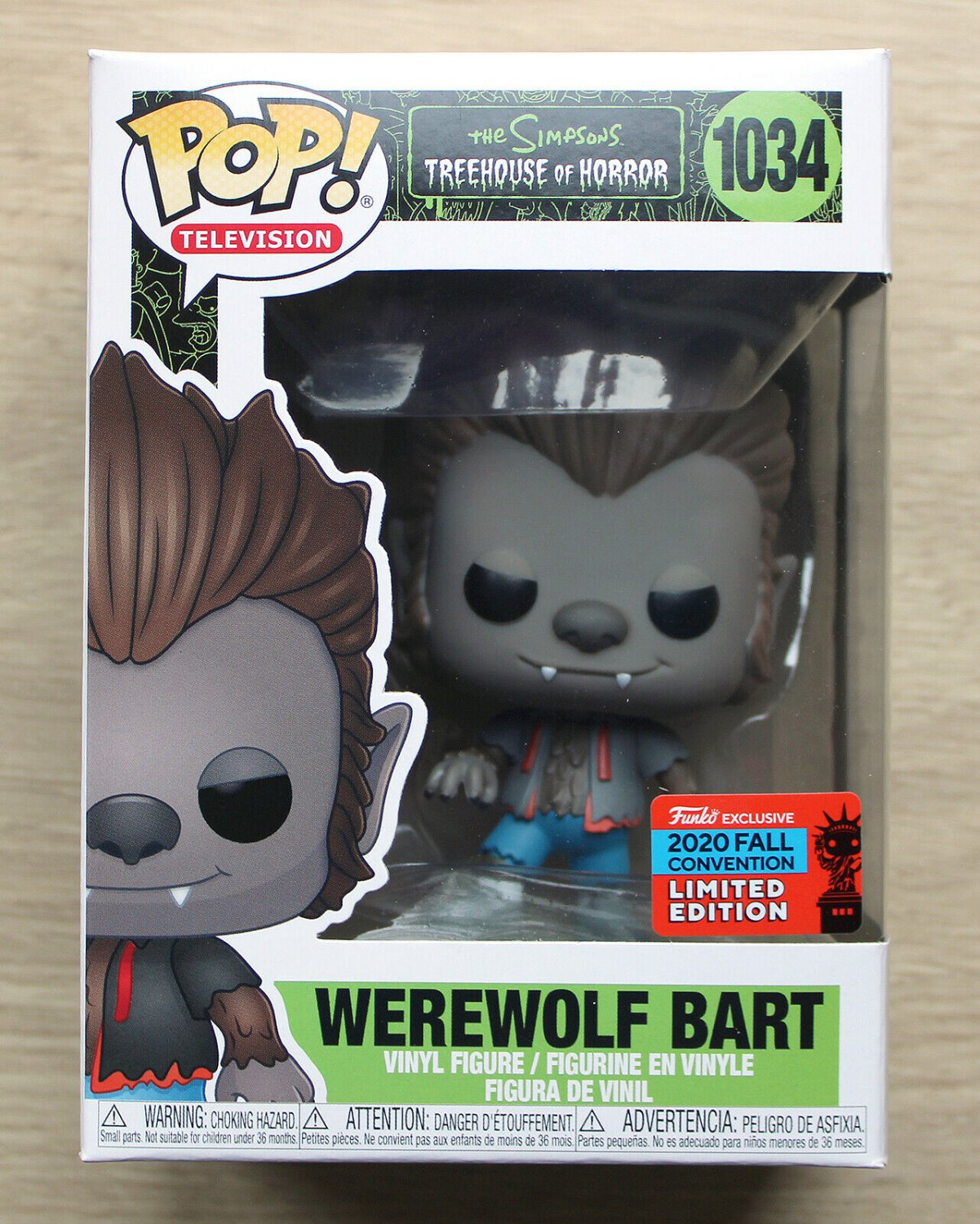 Funko Pop The Simpsons Werewolf Bart NYCC + Free Protector