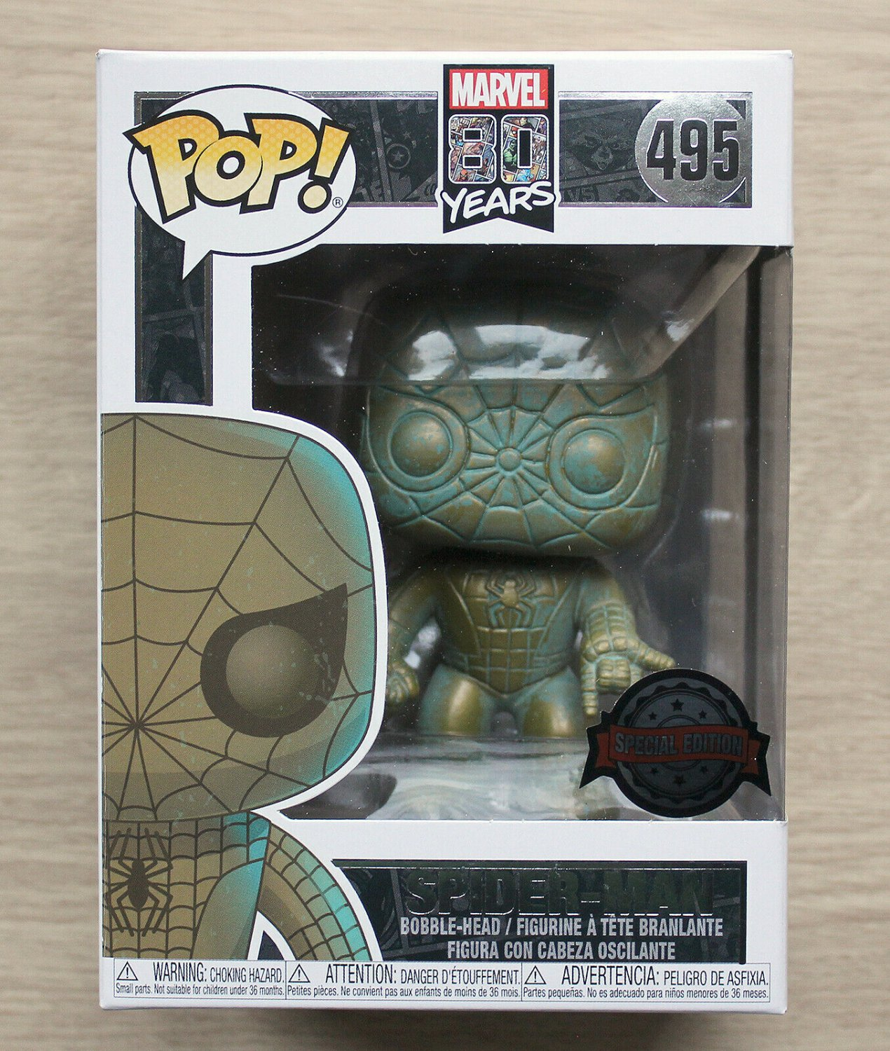 Funko Pop Marvel 80 Years Spider-Man Patina Target + Free Protector