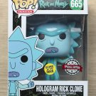 Funko Pop Rick And Morty Hologram Rick Clone GITD + Free Protector