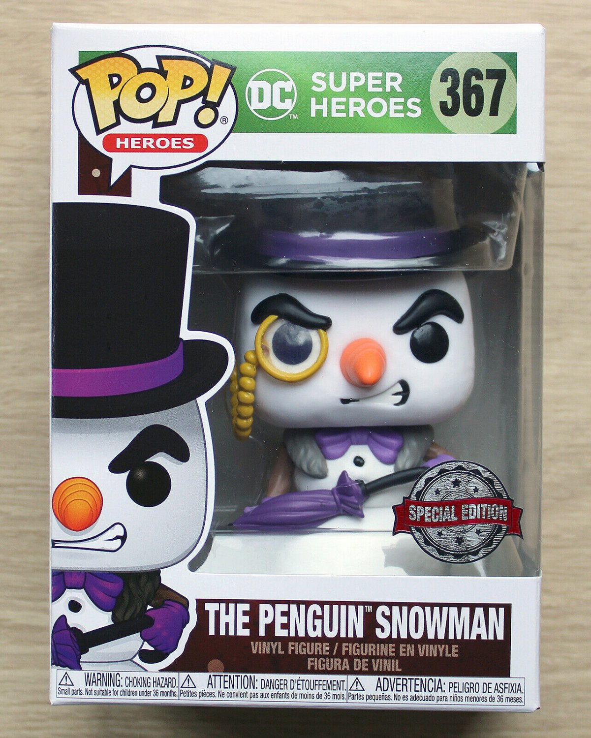 Funko Pop DC Heroes The Penguin Snowman + Free Protector
