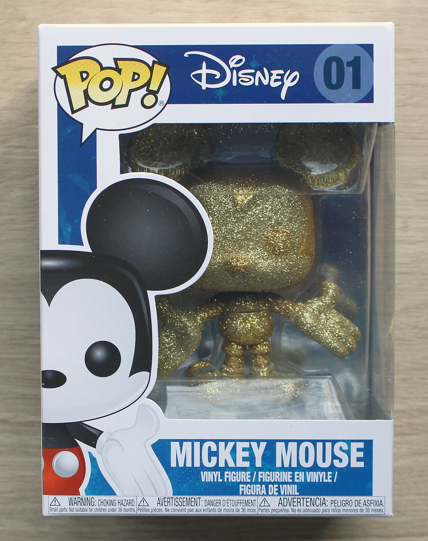 Funko Pop Disney Mickey Mouse Gold Diamond Glitter + Free Protector