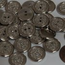 """Lot of 12 Small Silver Tone Plastic Buttons 1/2"""" 12mm # 5745"""