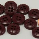 """12 Thick Shiny Plum Plastic Buttons 5/8"""" Almost 16MM # 6226"""