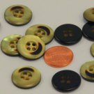 """Lot of 12 Pearlized Yellow & Brown Plastic Buttons 3/4"""" 19mm"""