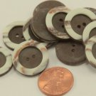 """Lot of 12 Matte Brown & Cream Plastic Buttons 3/4"""" 19mm # 6987"""