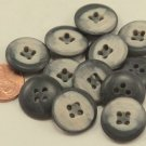 """12 Thick Grey & Beige Plastic Sew-through Buttons 3/4"""" 19mm # 7092"""