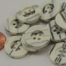 """Lot of 12 Off-White & Grey Matte Plastic Buttons 3/4"""" 19mm # 6991"""