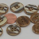 """Lot of 12 Brown Beige Striped Plastic Buttons Sew-through 3/4"""" 19.5mm 6474"""