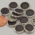 "12 Silver Tone Dark Grey Hint of Purple Plastic Buttons 9/16"" 15mm # 6650"