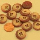 "Lot of 12 Reddish Brown & Beige Plastic Buttons 3/4"" 19mm # 6675"