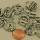 """12 Thick Cream & Black Marblized Plastic Buttons 3/4"""" 19MM # 6291"""