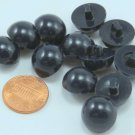 """12 Shiny Domed VERY DARK Navy Blue Plastic Buttons Almost 5/8"""" 15mm # 7001"""