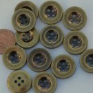 """12 Brass Tone Plastic Buttons 11/16"""" 17.5mm # 5855"""
